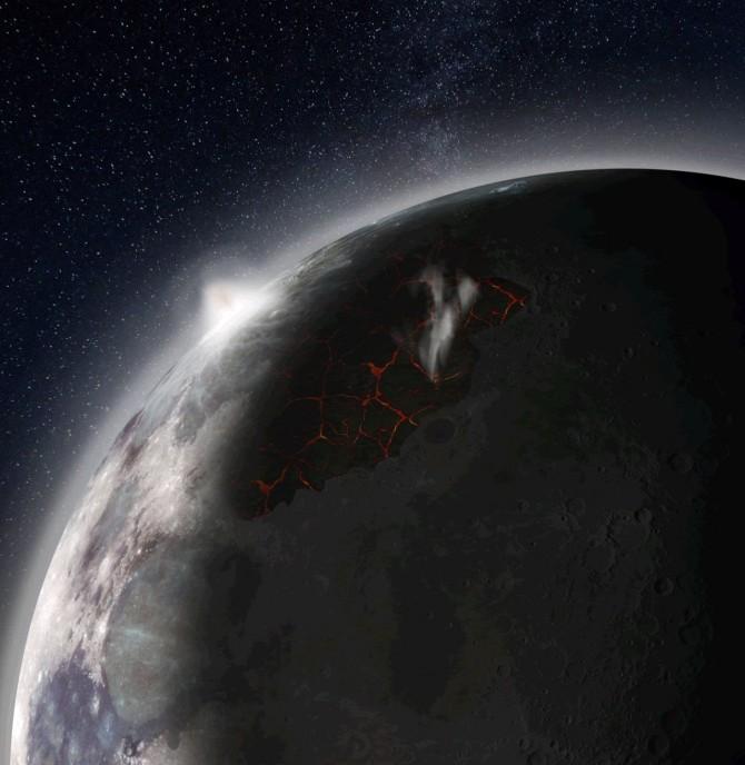 용암 분출이 일어난 달의 상상도. - NASA MSFC 제공