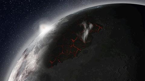 달의 화산폭발이 최고조로 이르렀을 때