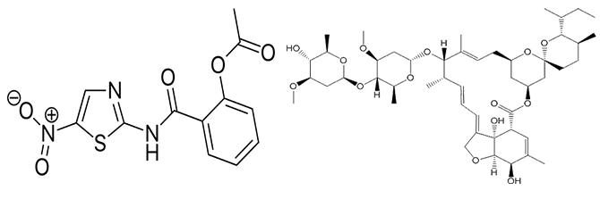 최근 항암효과가 있는 것으로 밝혀진 구충제 니타족사나이드(왼쪽)과 이버멕틴(오른쪽)의 분자구조. - 위키피디아, 브리스톨대 제공