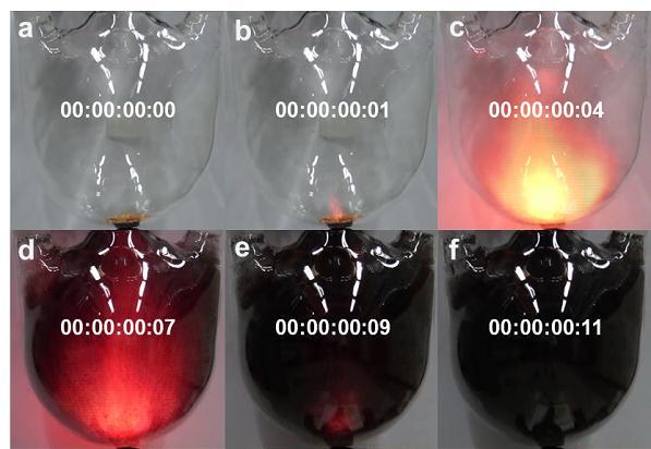 유기물단결정(HEA)이 열(히팅 건)에 의해 고체 상태에서 순간적으로 폭발하듯 반응하며 다공성 유기물 구조체로 변하는 과정을 초고속 카메라로 찍은 사진. - UNIST 제공
