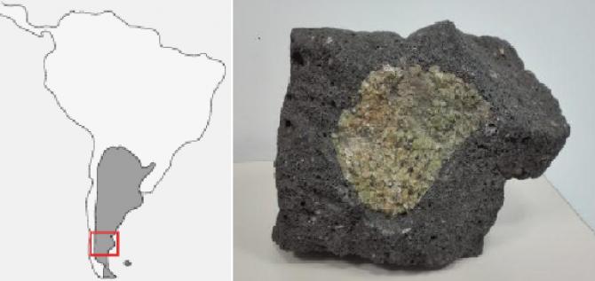 아르헨티나 파타고니아지역(왼쪽 빨간 사각형 부분)과 거기서 2억년전 지질활동으로 발생한것으로 추정되는 암석에서 금이 포함된 것을 발견했다. - Granada University 제공