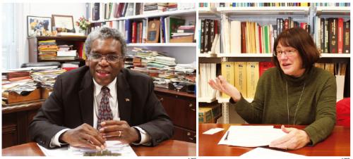 롤랜드 오웬스 미국 국립보건원(NIH) 내부 연구 프로그램 부원장(왼쪽)과 신시아 매시슨 NIH 국립암연구소(NCI) 연구본부 평가지원팀 박사(오른쪽) - 송경은 제공