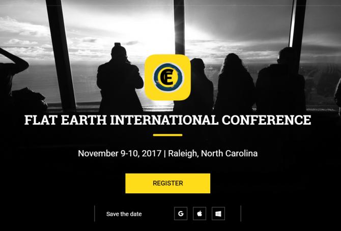 지난 11월 있었던 평평한 지구 학회의 컨퍼런스를 알리는 홈페이지