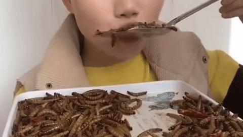 맛있게 벌레를 먹는 중국 여성