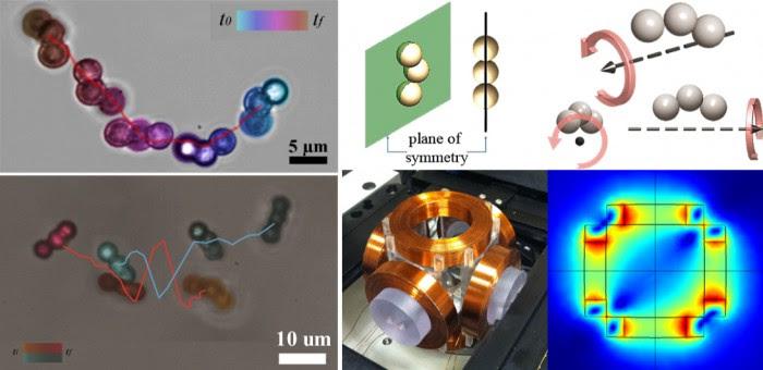 마이크로미터 단위의 구슬을 연결해 만든 모듈형 나노로봇.
