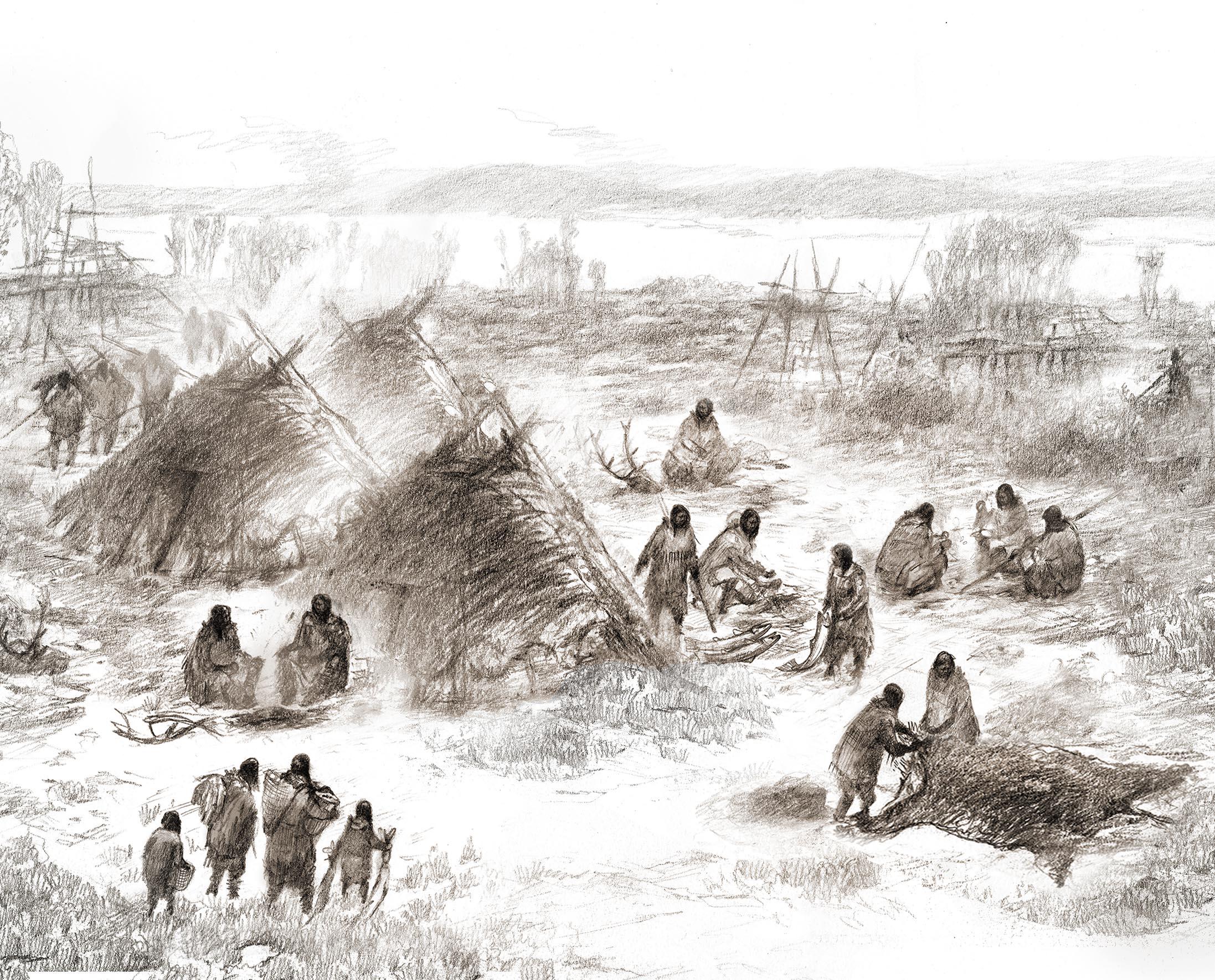 1만1500년 알래스카 지역 미국원주민의 생활 모습을 재현한 그림.