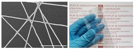 투명하고 유연한 '은 섬유' 전극으로 OLED 효율 19% 높였다
