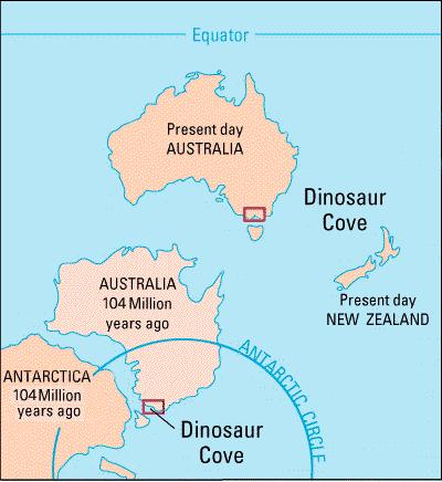 호주 남동부 해안에 있는 Eric the Red West 지역은 백악기 동안 남극대륙과 가까운 위치에 있었다. Eric the Red West를 비롯한 주변 지역은 공룡 화석이 많이 발견돼 공룡 만(Dinosaur Cove)이라고 부른다. - USGS 제공
