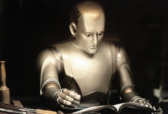 로봇 앤드류가 책을 읽고 있는 장면. 이 영화에서 앤드류는 호기심과 창의력을 가진 존재로 묘사된다.