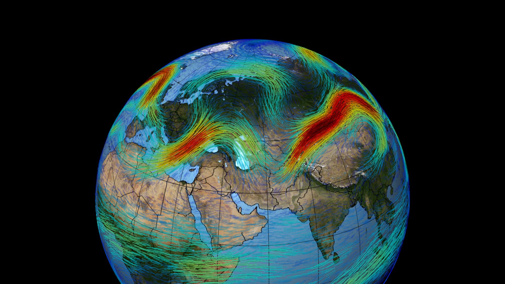 제트기류는 지구를 동서로 최대 시속 400km의 빠른 속도로 도는 바람이다. 북극의 찬 공기가 남쪽으로 내려오지 못하게 막는다. 하지만 미국항공우주국이 2014년 공개한 이 사진처럼 때로 제트기류가 남북으로 요동치면 가뭄이나 한파(겨울), 열파(여름)가 올 수 있다. 최근 미국 연구팀은 약 300년 동안의 기후 자료로 이 현상이 1960년대부터 심해졌다는 사실을 증명했다.