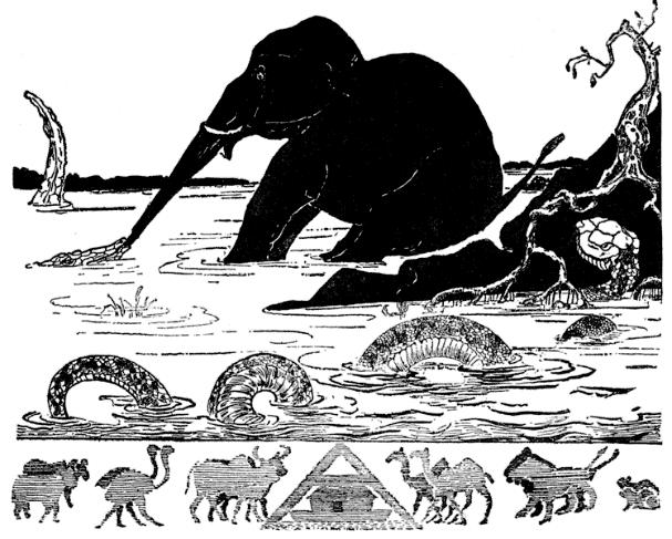 Kipling, Rudyard, Gleeson, Joseph M. (Joseph Michael), or Bransom, Paul (1885). 1912년 출판된 루디야드 키플링의 동화 '그냥 그런 이야기'에는 코끼리의 코가 길어진 이유에 대해서 악어가 잡아당겼기 때문이라고 설명한다. 말도 안되는 가설이지만, 심리학 영역에서는 이런 식의 주장이 여전히 널리 통용되고 있다. - wikimedia(cc) 제공
