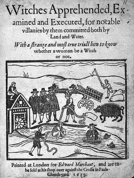 Figure 4 Unknown (1613). 마녀로 지목을 받은 여성이 손발이 묶인 채 강물에 던져지고 있다. 마녀로 몰린 여성은 혹독한 고문을 당했는데, 결백을 입증하려면 고문을 모두 견뎌야 했다. 대부분은 고통에 못 이겨 거짓 자백을 하고 처형되거나, 끝까지 결백을 주장하다가 고문으로 죽었다. -위키미디어