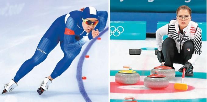 스피드스케이팅 남자 500m에서 깜짝 은메달을 선물한 차민규 선수의 질주 모습. 스케이트 날의 압력을 받아 얼음이 녹는다는 '수막이론'은 잘못된 것으로 알려져 있다(왼쪽). 한국 여자 컬링팀 김은정 선수가 스톤의 움직임을 바라보고 있다. 컬링은 화강암으로 만든 돌(스톤)의 미끄러짐을 잘 조절하는 팀이 승리한다(오른쪽). 동아일보 DB