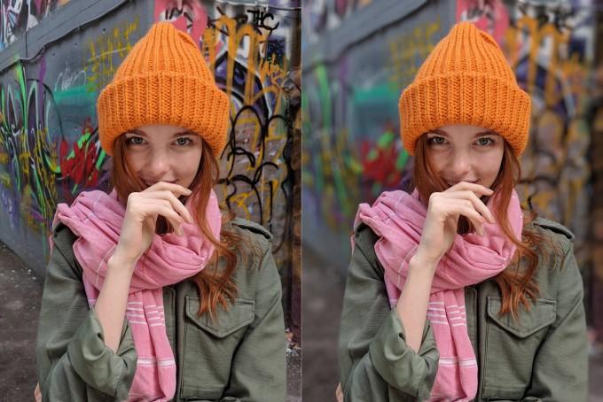 구글 픽셀2로 촬영한, 인물모드 적용 전(왼쪽)과 후의 HDR+ 사진. - 구글코리아 제공