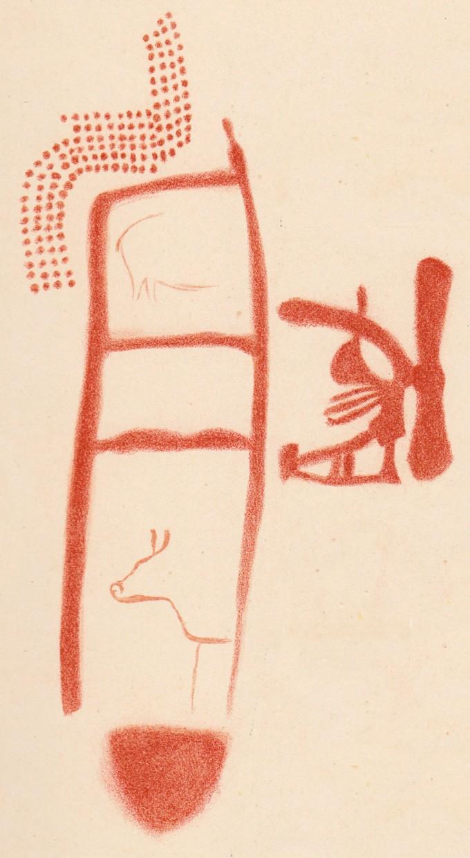 스페인 동굴에 그려진 벽화 중 그림 부분을 추출한 그래픽. 달월(月) 자 모양의 도형과 기하학적 문양, 동물 형상이 보인다. 네안데르탈인이 살던 시대의 그림으로 밝혀졌다. (사진=사이언스)