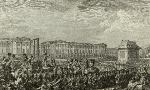 Isidore Stanislas Henri Helman (1794). 루이 16세 처형(판화). 단두대에서 처형된 국왕의 목을 높이 들고 있다. 1789년 7월 14일, 파리 시민의 바스티유 감옥 습격으로 시작된 프랑스 대혁명으로 인해, 국왕 루이 16세와 왕비 마리 앙투아네트는 목숨을 잃었다. 국왕 처형에 찬성한 사람들도 역시 보복을 당해 수없이 목숨을 잃었다. 이후 상당기간 내전과 쿠데타, 공포 정치가 끊이지 않았다. 이러한 시대적 분위기에 잘 어울리는 주장이, 바로 퀴비에의 격변설과 멸종설이었다.-wikimedia(cc)