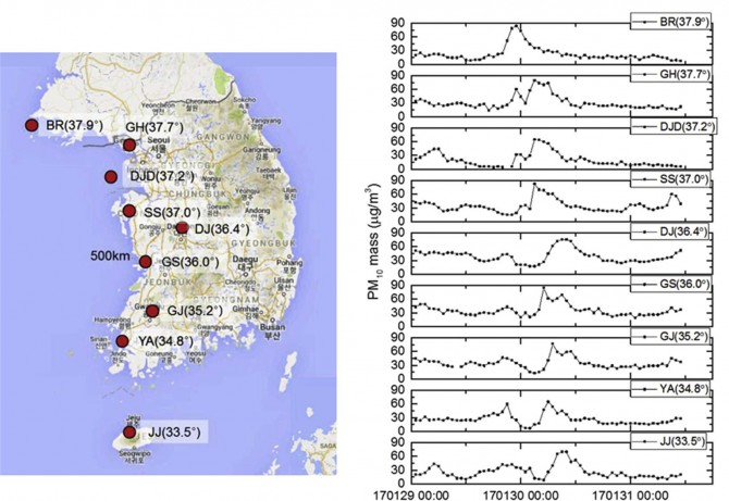 2017년 중국 춘절기간 동안 한반도 측정소별 미세먼지(PM10) 농도변화. 전국적으로 미세먼지 농도가 증가한 사실을 확인할 수 있다. -표준연 제공