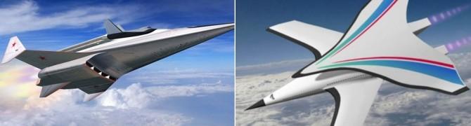 러시아가 전력화에 성공한 지르콘 순항미사일 모형도(왼쪽), 중국이 개발중인 극초음속 비행체 개념도- 스푸트니크뉴스, 사우스차이나모닝포스트 캡처 제공