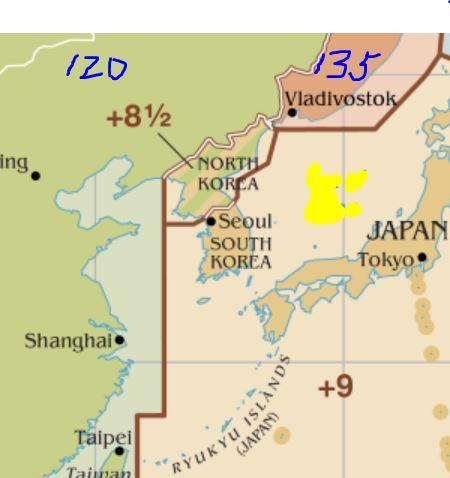 우리나라 시간대는 일본과 마찬가지로 동경 135도(+9)에 맞춰져 있다. 그 결과 서울 청소년의 생체시계는 이 시간대에 비해 30분 정도 늦은 반면 도쿄 학생은 20분 이르다. 서울에서 9시 등교를 실시하더라도 도쿄에서 8시 등교인 것과 마찬가지라는 말이다. 참고로 북한은 한반도를 관통하는 127.5도(+81/2)로 정했다. - 위키피디아 제공