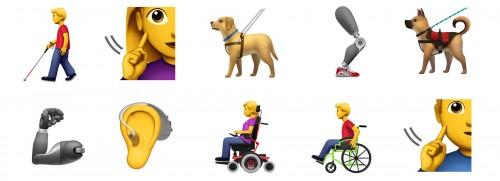 애플이 새롭게 제안한 장애인 이모티콘들 – 애플 제공