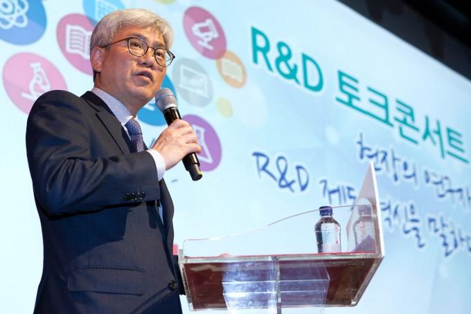 임대신 과학기술혁신본부장이 국가 R&D 혁신 토크콘서트에서 이야기하고 있다. -사진제공 과학기술정보통신부