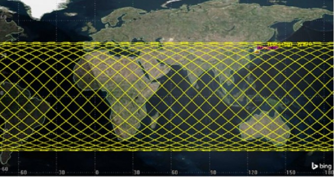 톈궁 1호의 추락 가능 범위. 지구 중위도 대부분이 들어간다.