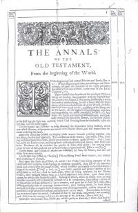 어셔의 구약 성서 연대기. 세상의 시작으로부터(From the beginning of the World)라는 제목이 붙어있다. - 사진 wikimedia(cc) 제공