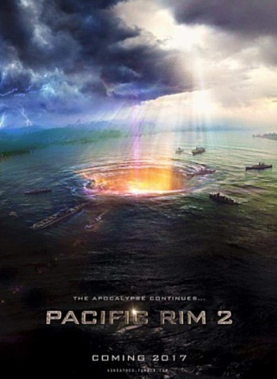 영화 퍼시픽 핌: 업라이징 예고 포스터. 브리치(차원의 문)이 열리며 새로운 적이 침공할 것을 암시하고 있다.