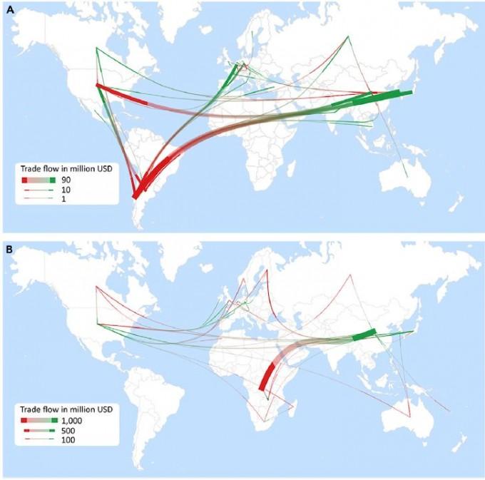 리튬(위)과 코발트(아래)의 국제무역 현황을 보여주는 지도로 연결선의 빨간색 끝이 수출국, 녹색 끝이 수입국이다. 리튬은 칠레와 아르헨티나, 미국, 한국, 중국, 일본 등 여러 나라로 분산돼 있는 반면 코발트는 콩고와 중국 두 나라가 40%를 차지하고 있다. 콩고에서 캐낸 코발트는 중국에서 정제된다. 배터리 수요가 늚에 따라 중국을 제외한 배터리 생산국은 코발트 수급에 애를 먹을 가능성이 있다. - '줄' 제공
