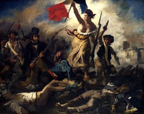 외젠 들라르쿠아 작, 민중을 이끄는 자유의 여신. 1830년 작. 프랑스 대혁명은 자유, 평등, 박애의 기치로 기존의 전제 왕권을 무너뜨렸다. 하지만 무너진 왕권은 이내 다른 사람이 차지했다. 불과 15년 만에 프랑스 국민의 압도적인 지지로, 나폴레옹 보나파르트는 황제의 지위에 올랐다. 찬성표는 360만 표, 반대표는 2500표였다. - 위키백과 제공
