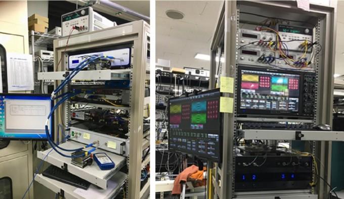 한국전자통신연구원(ETRI)이 개발한 400Gbps급 광통신 송신장비(왼쪽)와 수신장비. - ETRI 제공