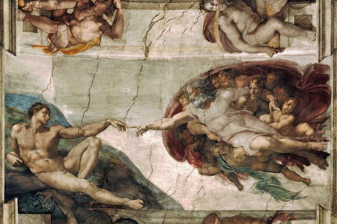 미켈란젤로의 천지창조. 세상에는 시작과 끝이 있다는 기독교적 사상은, 그 시작과 끝에 대한 궁금증을 유발했다. 처음에는 신학과 철학이, 그리고 지금은 과학이 그 역할을 대신하고 있다. - 사진 wikimedia(cc) 제공
