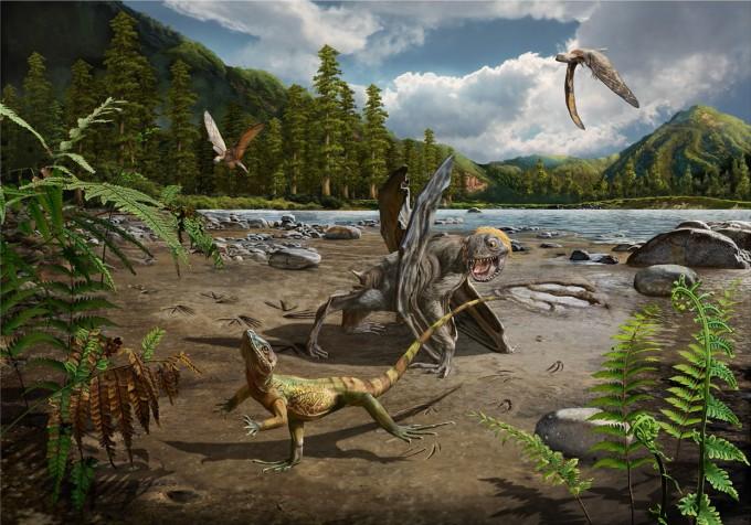 1억 1000만 년 전 도마뱀과, 이를 노리는 소형 익룡을 표현한 그림. - 사진 제공 한국지질자원연구원