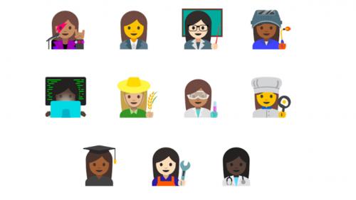 여성의 직업을 다양하게 표현한 이모티콘 – 구글 제공
