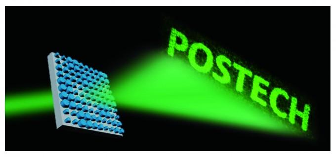 노준석 POSTECH 교수팀이 메타표면으로 만든 홀로그램. POSTECH 글자는 가로 20cm,세로 10cm가량의 실제 이미지다. - 과학동아 3월호 제공