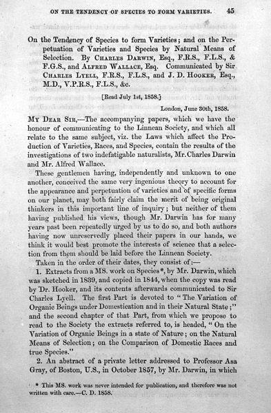 다윈와 월리스의 논문을 낭독한 1858년 7월 1일, 린네 학회의 첫 페이지. 다윈의 이름이 월리스의 이름 바로 앞에 적혀 있다. -wikimeda(cc) 제공
