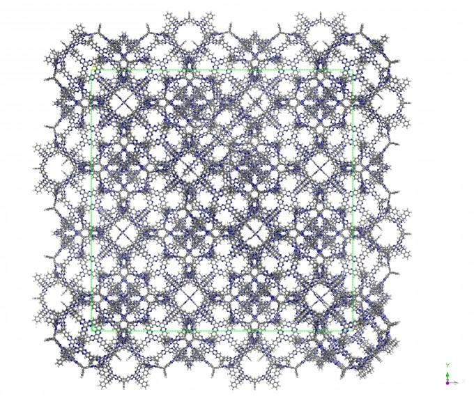 초미세 유기구조체(3D-CON)의 구조를 원자 크기로 그린 모습