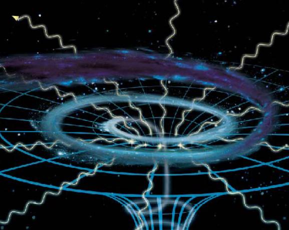 블랙홀에서 물질을 모두 빨아들이는 경계면인 사건의 지평선을 나타낸 그림이다.-과학동아 제공