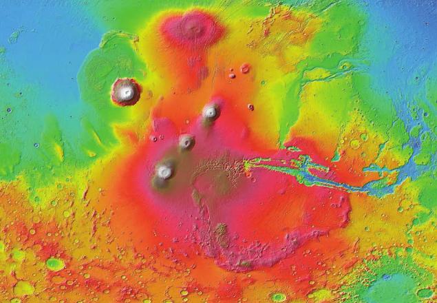 화성의 화산지대인 타르시스(Tharsis)지역의 모습이다-NASA