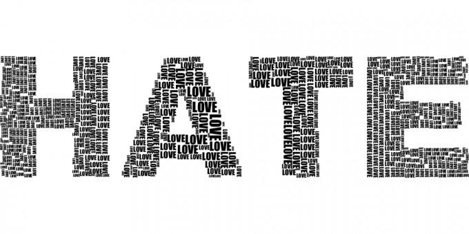 증오(HATE)라는 단어로 보이지만, 사실 사랑(LOVE)이라는 작은 단어로 만들어져 있다. 종종  증오는 '잘못된' 사랑의 표현일 수 있다. - pixabay 제공