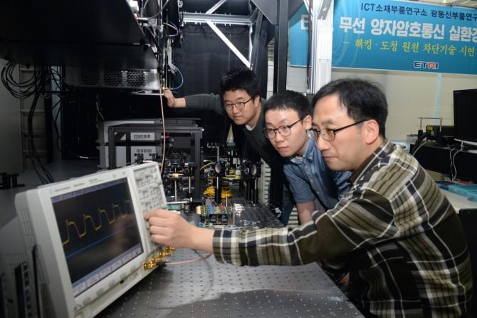 ETRI 연구팀이 자체개발한 무선양자통신 장치를 점검하고 있다.-한국전자통신연구원