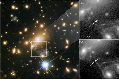 허블우주망원경이 관측한 MACS J1149+2223 은하계의 모습(왼쪽). 2011년엔 이카루스가 안 보이지만 (우상단), 2016년엔 관측됨을 알 수 있다. (우하단)