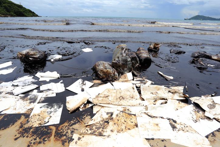 바다에 유출된 기름이 해안까지 흘러와 해양 생태계를 망치고 있다.- GIB 제공