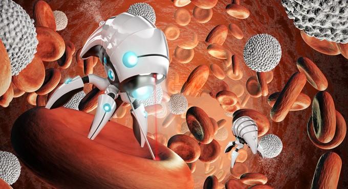 미래에 나노 로봇이 혈관 속에 주입돼 직접 적혈구나 암세포를 치료하는 상황을 상상한 일러스트. - 과학동아 제공