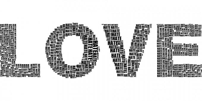 사랑(LOVE)이라는 단어로 보이지만, 사실 증오(HATE)라는 작은 단어로 만들어져 있다. 종종 뜨거운 사랑은, 격렬한 증오로 바뀐다. - pixabay 제공