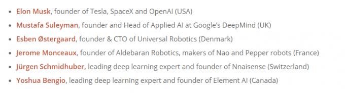 서명자들 중에는 일론 머스크 뿐만 아니라 AI 구글 딥바마인드 공동개발자인 무스타바 술레이만도 포함 돼 있다. - https://futureoflife.org 제공