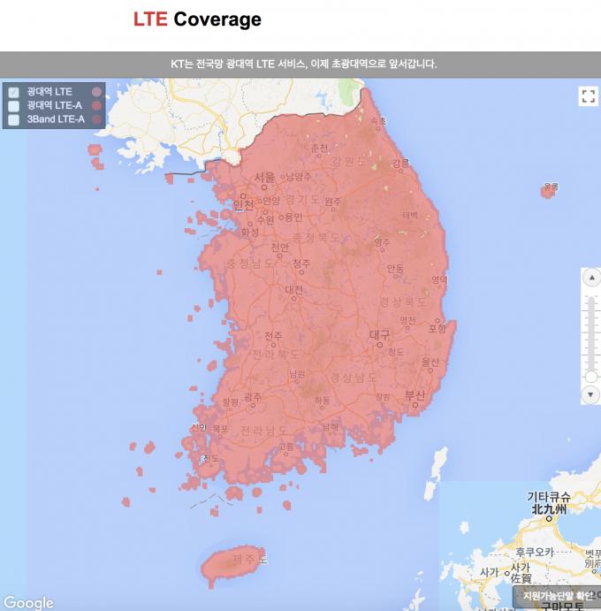 LTE의 기지국 커버리지 지도. 통신사당 10만 개 이상의 기지국이 전국을 거의 빈 틈 없이 메우고 있다. 5G는 이보다 더 많은 기지국이 필요하다. - 최호섭 제공