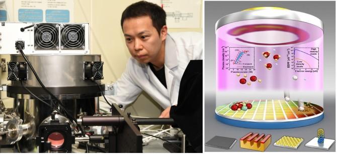 KRISS 이효창 선임연구원이 플라즈마 측정을 하고 있다(왼쪽), 플라스마를이용해 반도체기판에 원하는 소자를 얹고있는 상상도-한국표준과학연구원 제공
