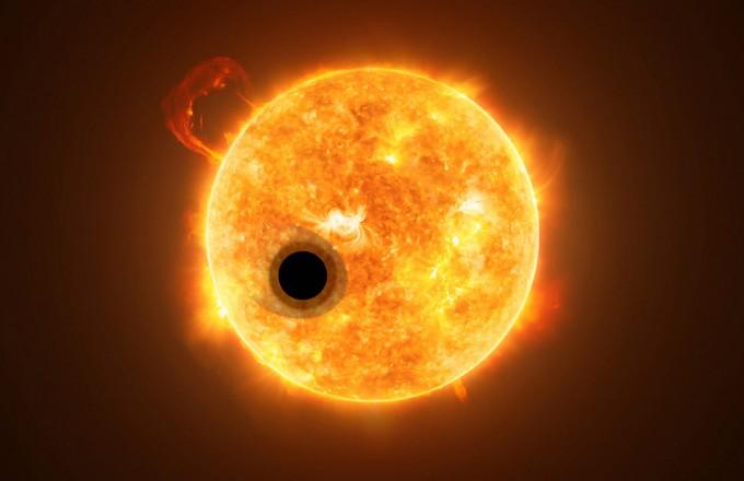 외계행성 WASP-107b의 상상도. 표면 온도는 약 500도로 목성과 크기가 비슷하지만, 질량은 약 12% 더 크다. - NASA, ESA, Hubble, M.Kornmesser 제공