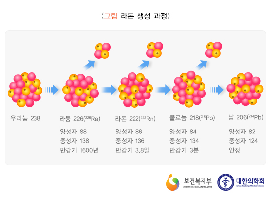 라돈의 생성과정. 우라늄, 토륨 등이 방사선을 방출하고 붕괴하면서 라돈이 생성된다. - 질병관리본부 제공